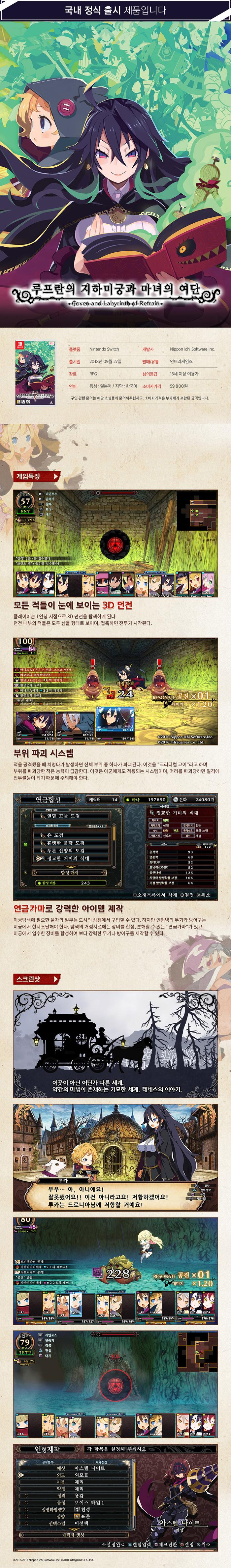 switch 루프란의 지하미궁과 마녀의 여단 상세페이지